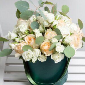 Floral hat box by Lavender and Lilacs Florist